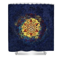 Star Shine Blue And Gold Shower Curtain