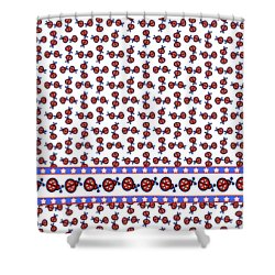 Shower Curtain featuring the digital art Star-spangled Lady Bugs by Methune Hively