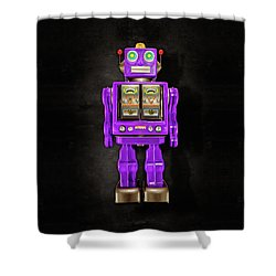 Star Strider Robot Purple On Black Shower Curtain by YoPedro