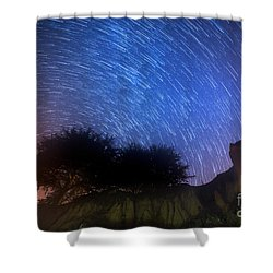 Star Trails Above Shell Beach Shower Curtain