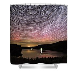 Shower Curtain featuring the photograph Star Trails And Aurora At Billy Chinook by Cat Connor