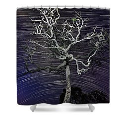 Shower Curtain featuring the photograph Star Trails In The Cerrado by Gabor Pozsgai