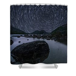 Star Trails Over Jordan Pond Shower Curtain