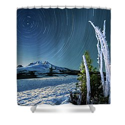 Star Trails Over Mt. Hood Shower Curtain