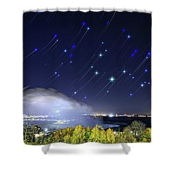 Star Trails Over Niagara River Shower Curtain