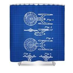 Star Trek Enterprise Patent Blue Print Shower Curtain