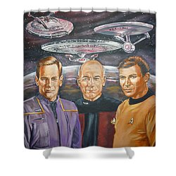 Star Trek Tribute Enterprise Captains Shower Curtain by Bryan Bustard
