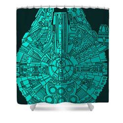 Star Wars Art - Millennium Falcon - Blue 02 Shower Curtain