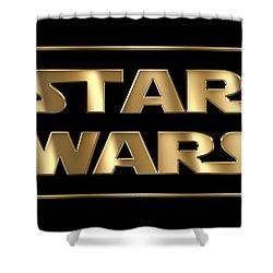 Star Wars Golden Typography On Black Shower Curtain by Georgeta Blanaru