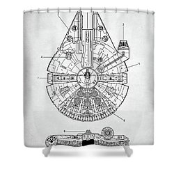 Star Wars Millennium Falcon Patent Shower Curtain by Taylan Apukovska