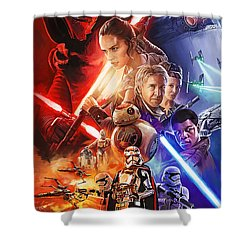 Shower Curtain featuring the painting Star Wars The Force Awakens Artwork by Sheraz A