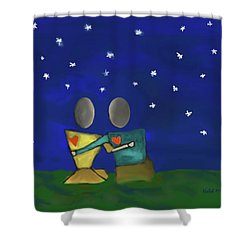 Star Watching Shower Curtain by Haleh Mahbod
