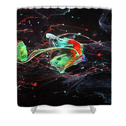 Starborn - Colorful Abstract Art Photography - Paint Pouring Shower Curtain