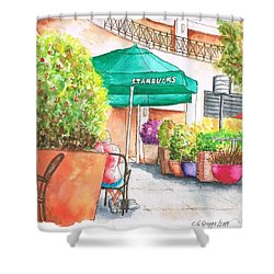 Starbucks Coffee, Sunset Blvd, And Cresent High, West Hollywood, Ca Shower Curtain