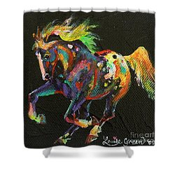 Starburst Pony Shower Curtain by Louise Green