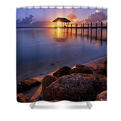 Starburst Sunset Over House Of Refuge Pier In Hutchinson Island At Jensen Beach, Fla Shower Curtain by Justin Kelefas