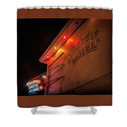 Shower Curtain featuring the photograph Stardust Motel by Kristia Adams