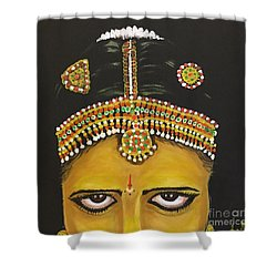 Shower Curtain featuring the painting Stare by Brindha Naveen