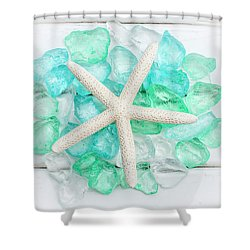 Starfish And Sea Glass Shower Curtain