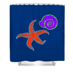 Shower Curtain featuring the digital art Starfish And Shell by Jennifer Hotai