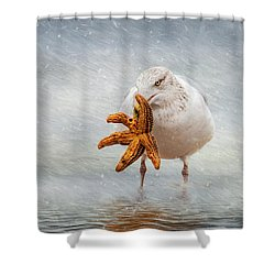 Starfish For Dinner Shower Curtain