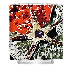 Starfish In Coral Reef 7 Shower Curtain by Lanjee Chee