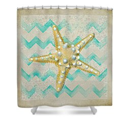 Starfish In Modern Waves Shower Curtain