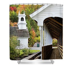 Shower Curtain featuring the photograph Stark, Nh Union Church And Covered Bridge by Betty Denise
