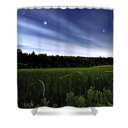 Starlight And Fireflies Shower Curtain