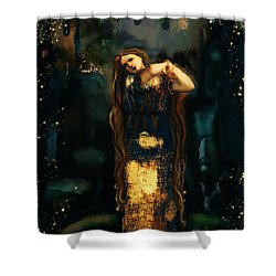 Midnight Starlight Shower Curtain by Carrie Joy Byrnes