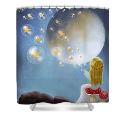 Starry Bubbles By Sannel Larson Shower Curtain