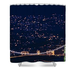 Shower Curtain featuring the photograph Starry Lions Gate Bridge - Mdxxxii By Amyn Nasser by Amyn Nasser