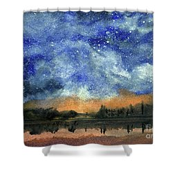 Starry Night Across Our Lake Shower Curtain by Randy Sprout
