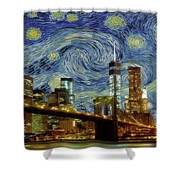 Starry Night Brooklyn Bridge Shower Curtain by Movie Poster Prints