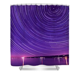 Starry Night Of Cayuga Lake Shower Curtain