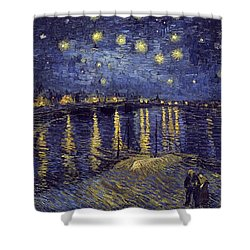 Shower Curtain featuring the painting Starry Night Over The Rhone by Van Gogh