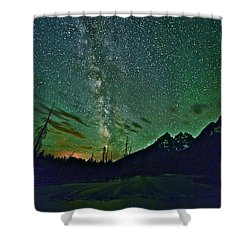 Starry Night Over The Tetons Shower Curtain