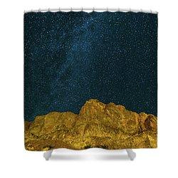 Starry Night Sky Over Rocky Landscape Shower Curtain