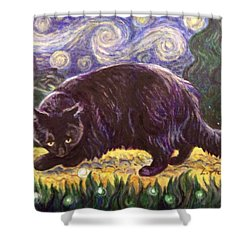 Shower Curtain featuring the painting Starry Night Stroll by Laura Aceto