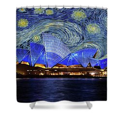 Starry Night Sydney Opera House Shower Curtain by Movie Poster Prints