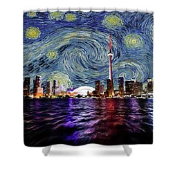 Starry Night Toronto Canada Shower Curtain by Movie Poster Prints