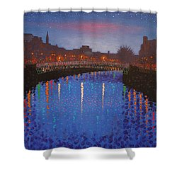 Starry Nights In Dublin Ha' Penny Bridge Shower Curtain by John  Nolan