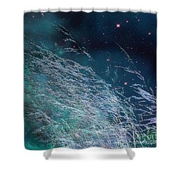Shower Curtain featuring the photograph Starry Sky Grass by Yulia Kazansky