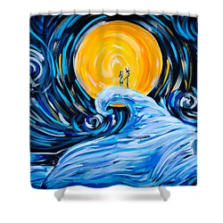 Starry Spiral Hill Night Shower Curtain