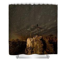 Shower Curtain featuring the photograph Stars And Crosses by Allen Biedrzycki