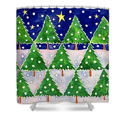 Stars And Snow Shower Curtain by Cathy Baxter