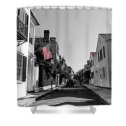 Stars And Stripes- Church St Charleston Sc Shower Curtain