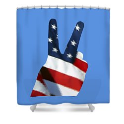 Shower Curtain featuring the photograph Stars And Stripes Peace Sign .png by Al Powell Photography USA