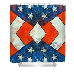Shower Curtain featuring the digital art Stars And Strips Abstract Pencil by Edward Fielding