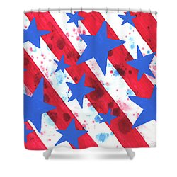 Shower Curtain featuring the painting Stars And Strips  by Darice Machel McGuire